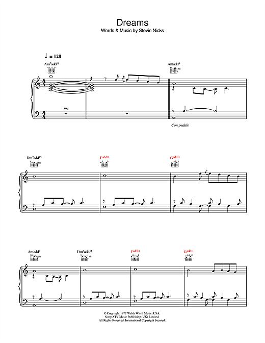 Fleetwood Mac Dreams Sheet Music Notes Chords Printable Rock