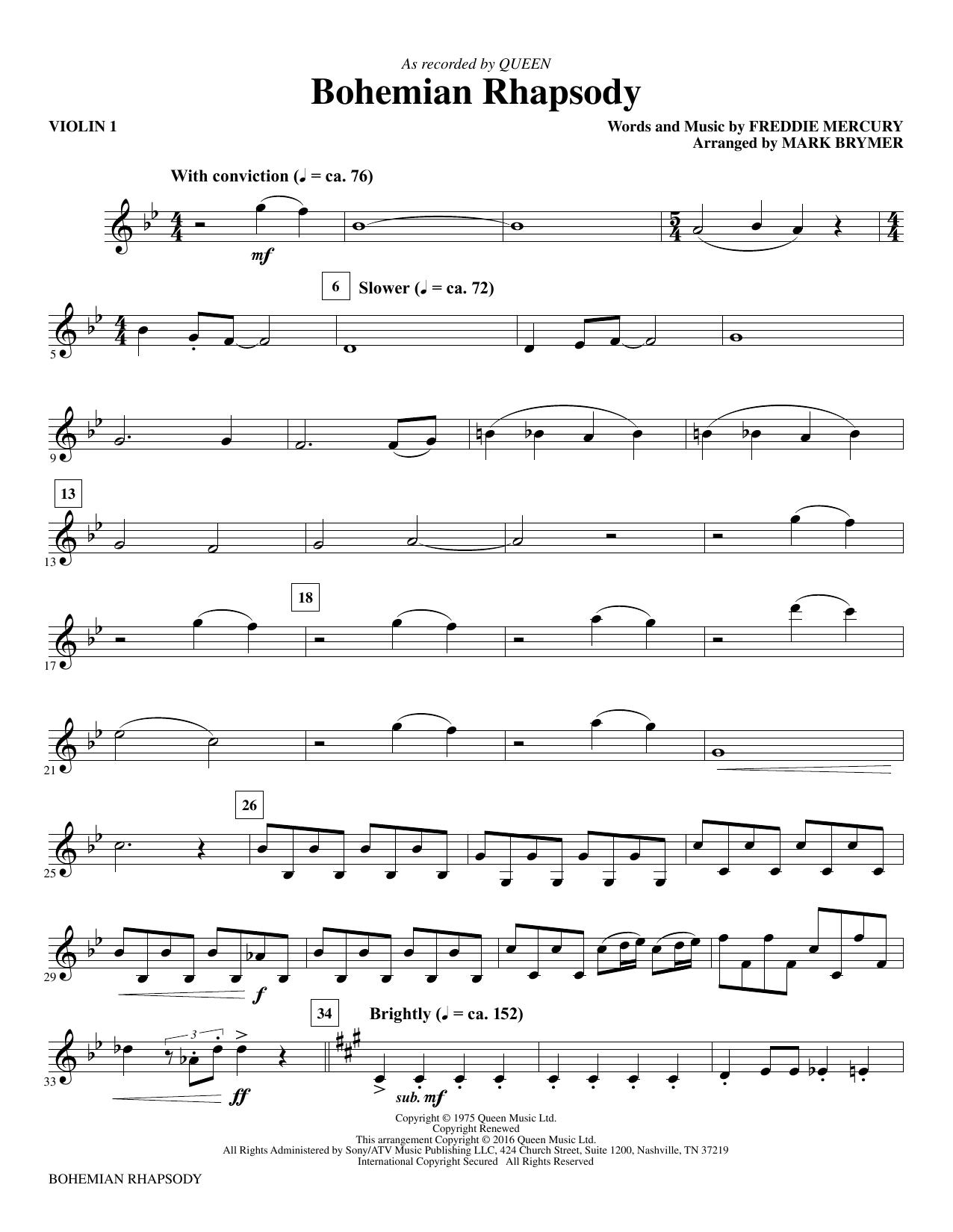 Queen 'Bohemian Rhapsody (arr  Mark Brymer) - Violin 1' Sheet Music Notes,  Chords | Download Printable Choral Instrumental Pak - SKU: 357180