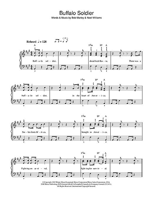 Bob Marley Buffalo Soldier Sheet Music Notes Chords Printable