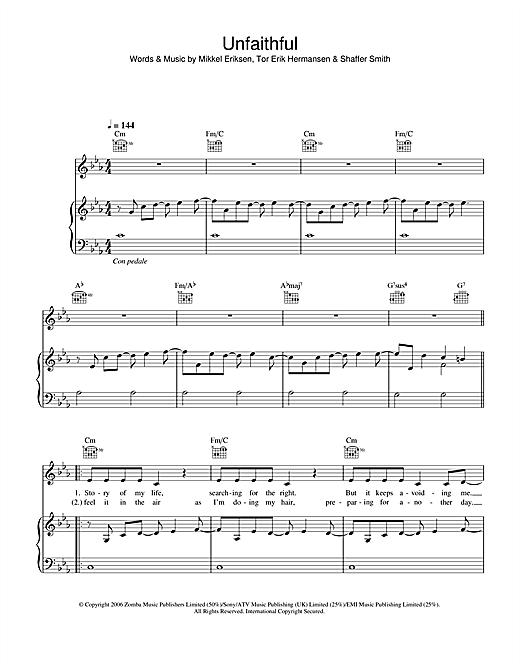 Rihanna Unfaithful Sheet Music Notes Chords Printable R B