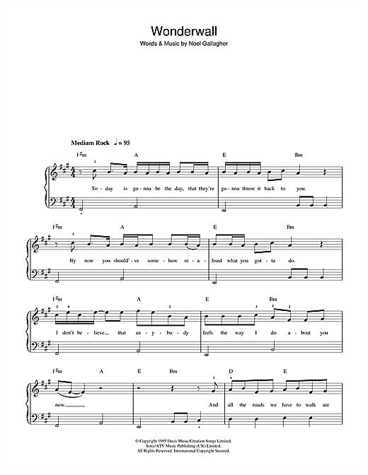 Oasis Wonderwall Sheet Music Notes Chords Printable Pop