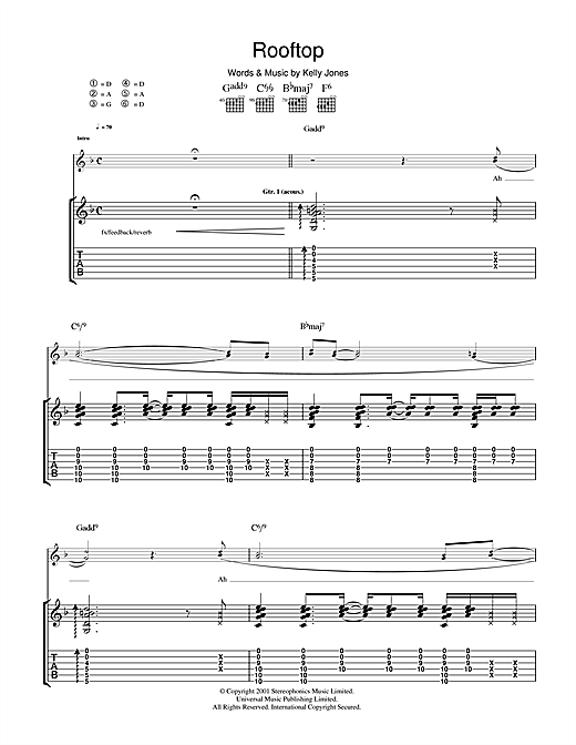 Stereophonics Rooftop Sheet Music Notes Chords Printable Rock