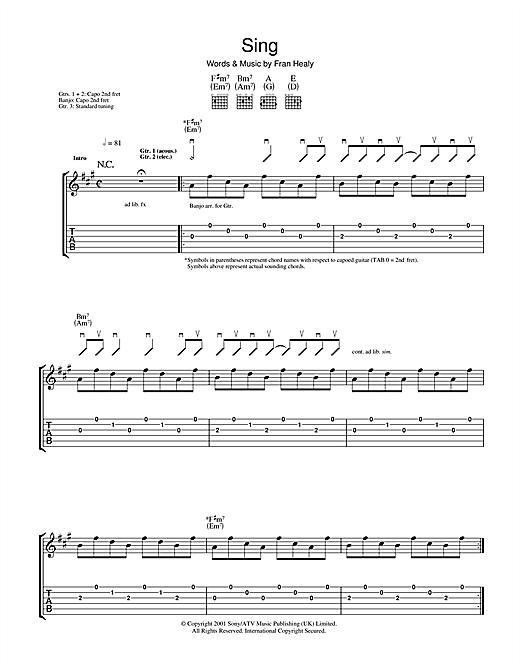 Travis Sing Sheet Music Notes Chords Printable Rock Guitar Tab