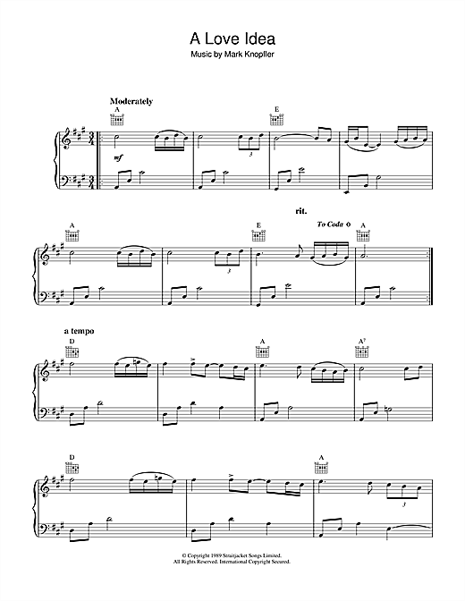 Mark Knopfler A Love Idea From Last Exit To Brooklyn Sheet Music