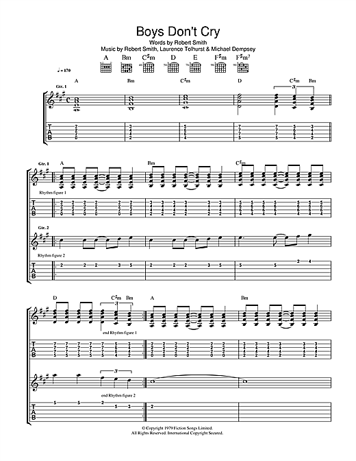 The Cure Boys Dont Cry Sheet Music Notes Chords Printable Rock