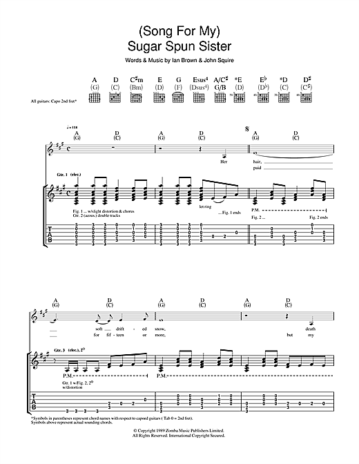 The Stone Roses Song For My Sugar Spun Sister Sheet Music Notes
