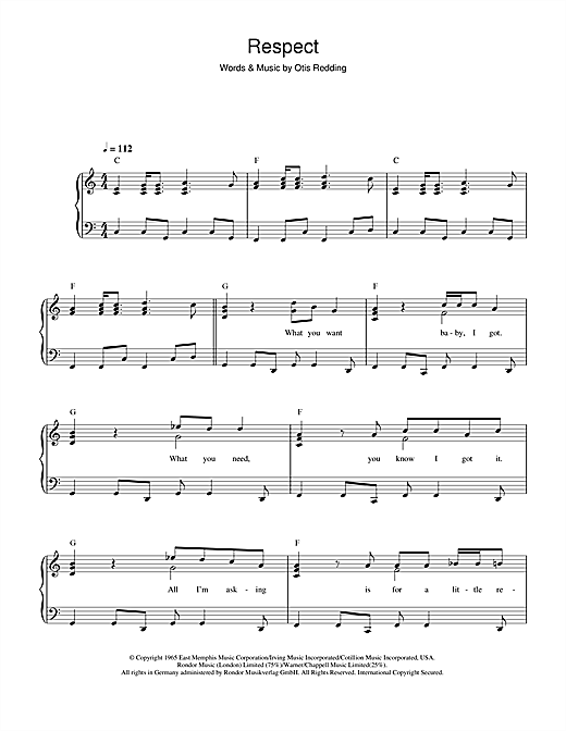 Aretha Franklin Respect Sheet Music Notes Chords Printable Soul