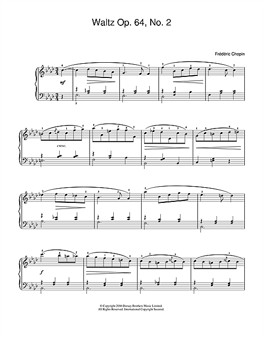 Frederic Chopin Waltz Op 64 No 2 Sheet Music Notes Chords