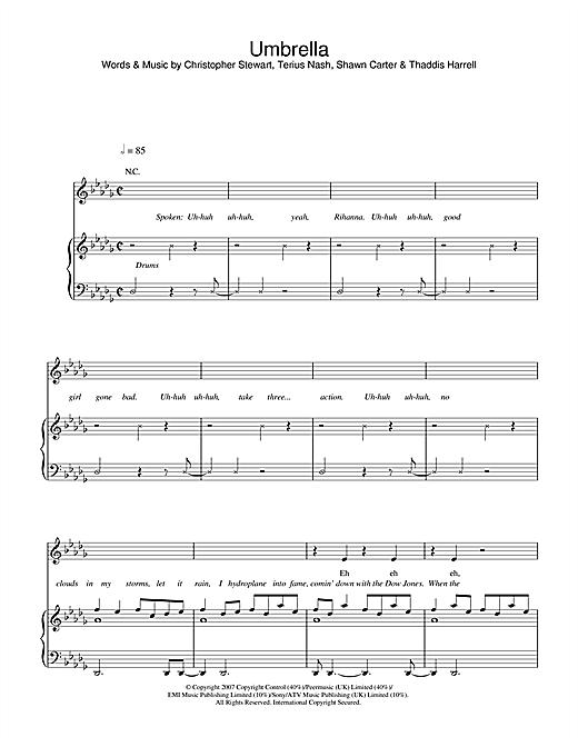 Rihanna Umbrella Feat Jay Z Sheet Music Notes Chords Download Printable Piano Vocal Guitar Sku 38200