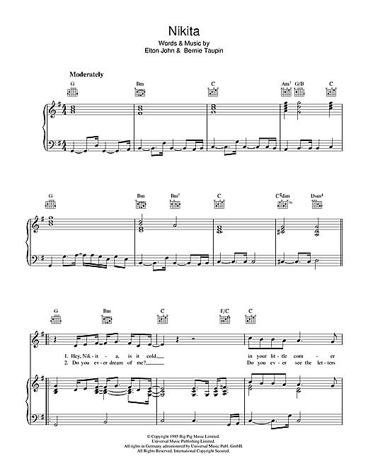 Elton John Nikita Sheet Music Notes Chords Printable Rock Piano