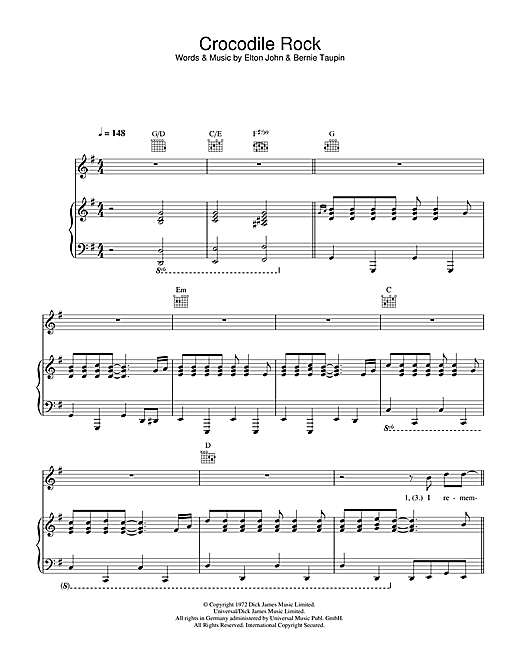 Elton John Crocodile Rock Sheet Music Notes Chords Printable