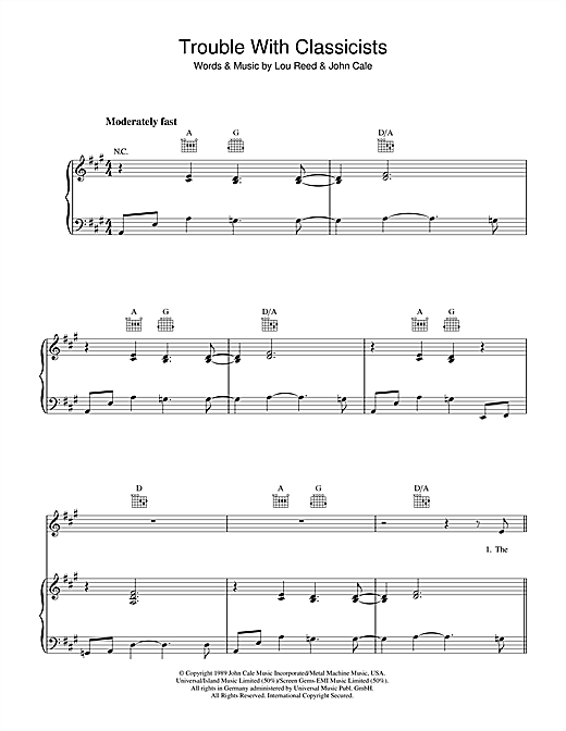 Lou Reed Trouble With Classicists Sheet Music Notes Chords