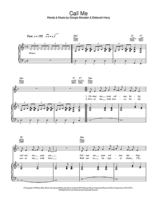 Blondie Call Me Sheet Music Notes Chords Printable Disco Piano