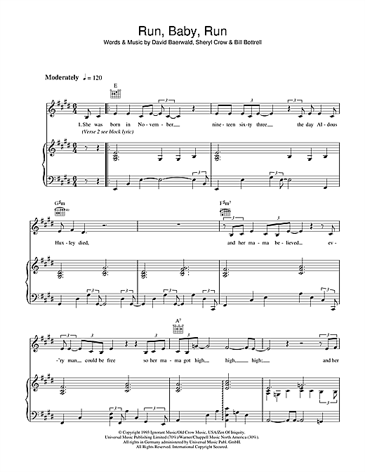 Sheryl Crow Run Baby Run Sheet Music Notes Chords Printable