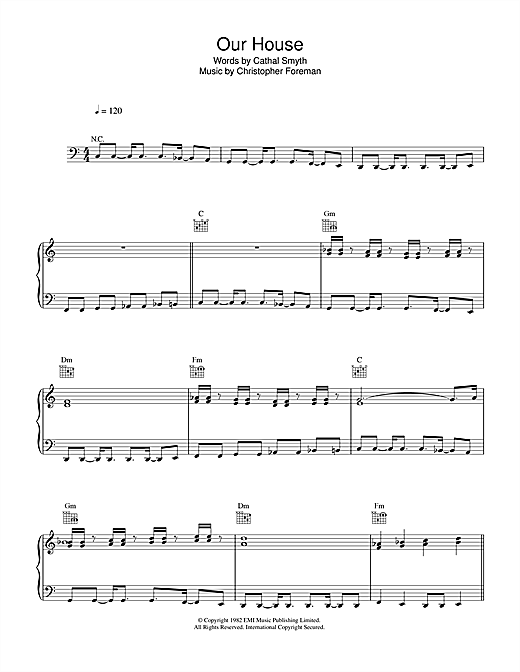 Madness Our House Sheet Music Notes Chords Printable Rock Piano