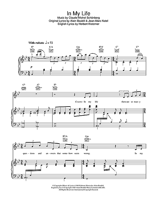 Boublil And Schonberg In My Life From Les Miserables Sheet Music