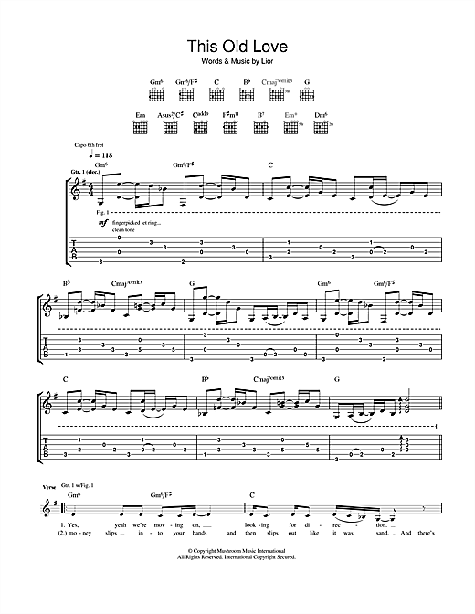 Lior This Old Love Sheet Music Notes Chords Printable
