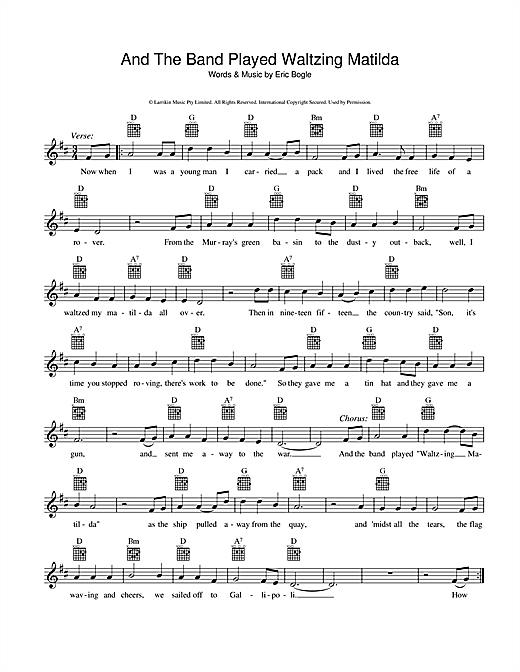 Eric Bogle And The Band Played Waltzing Matilda Sheet Music Notes