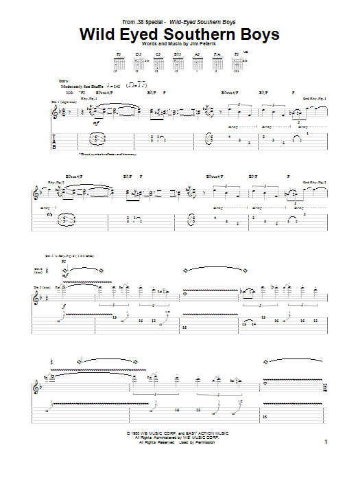 38 Special Wild Eyed Southern Boys sheet music notes and chords. Download Printable PDF.