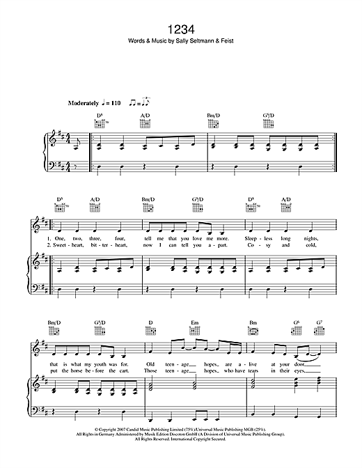 Feist 1234 Sheet Music Notes Chords Printable Alternative Piano
