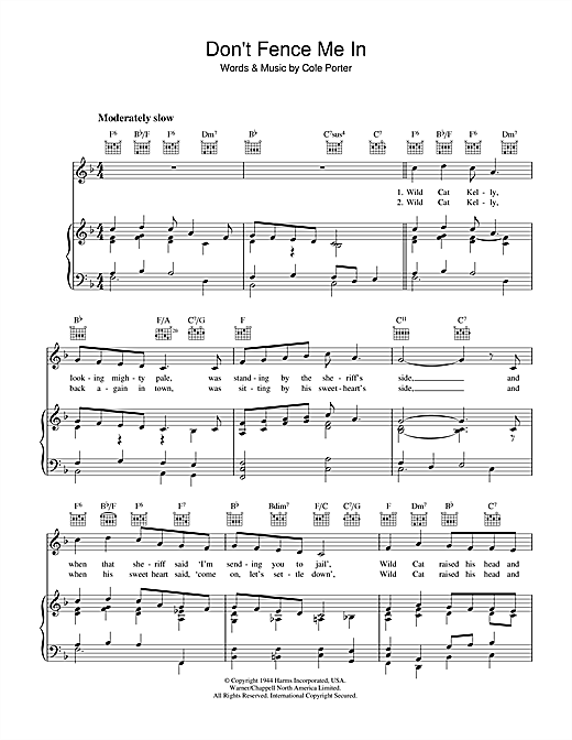 Cole Porter Dont Fence Me In Sheet Music Notes Chords