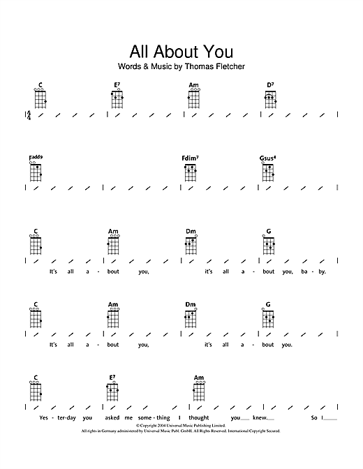 Mcfly All About You Sheet Music Notes Chords Printable Pop