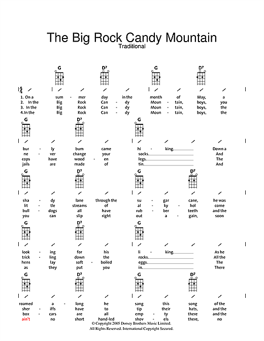 Traditional Big Rock Candy Mountain Sheet Music Notes Chords