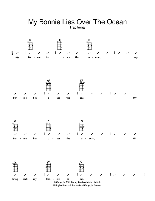 Traditional My Bonnie Lies Over The Ocean Sheet Music Notes