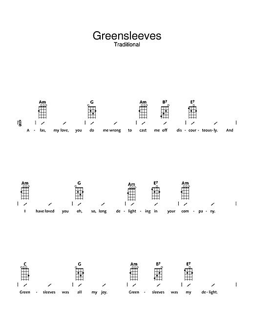 Traditional Greensleeves Sheet Music Notes Chords Printable