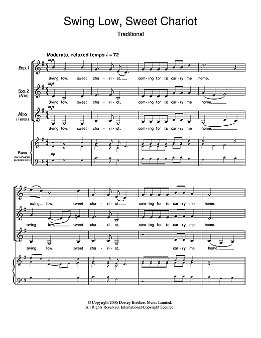 Traditional Swing Low Sweet Chariot Sheet Music Notes Chords