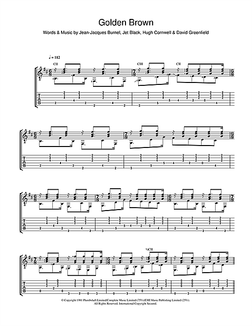 The Stranglers Golden Brown Sheet Music Notes Chords Printable