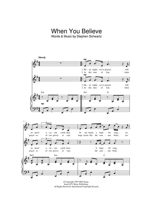 Stephen Schwartz When You Believe sheet music notes and chords