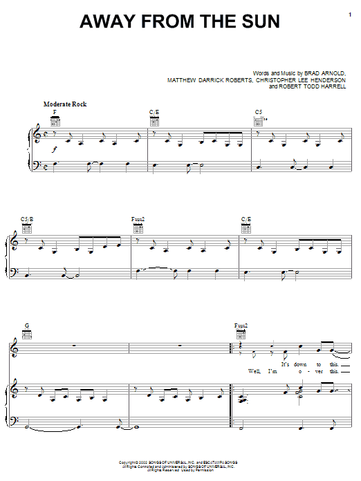 3 Doors Down Away From The Sun sheet music notes and chords. Download Printable PDF.