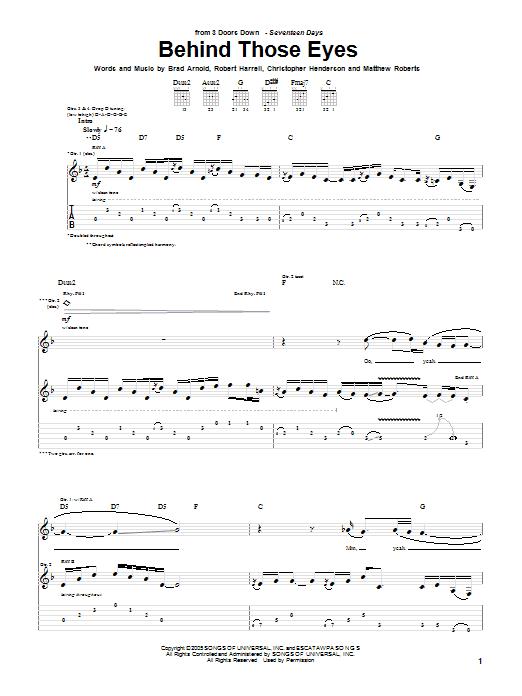 3 Doors Down Behind Those Eyes sheet music notes and chords. Download Printable PDF.