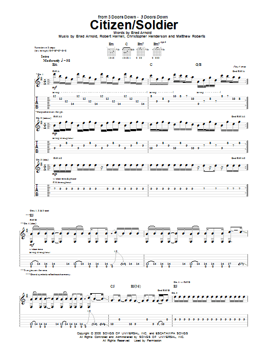 3 Doors Down Citizen/Soldier sheet music notes and chords. Download Printable PDF.