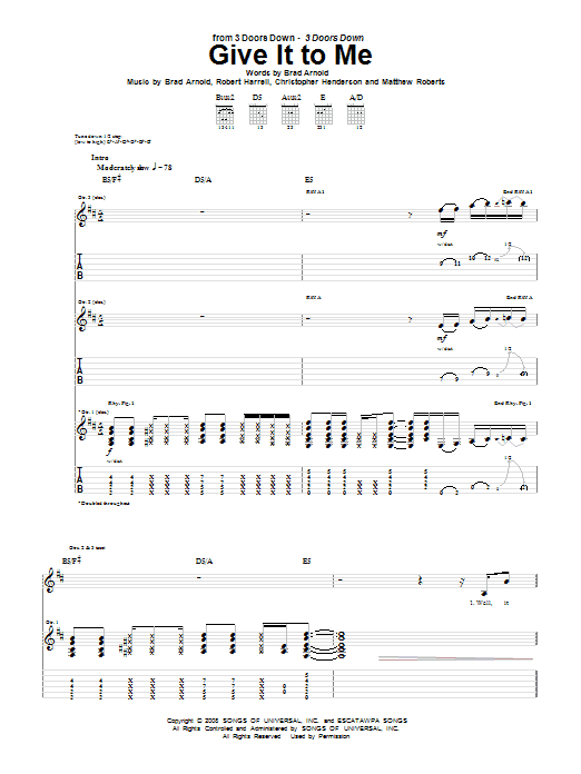 3 Doors Down Give It To Me sheet music notes and chords