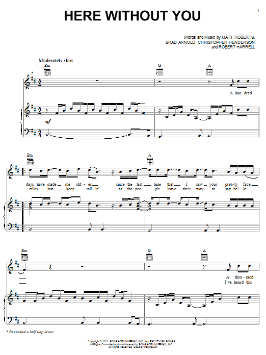 3 Doors Down Here Without You sheet music notes and chords. Download Printable PDF.