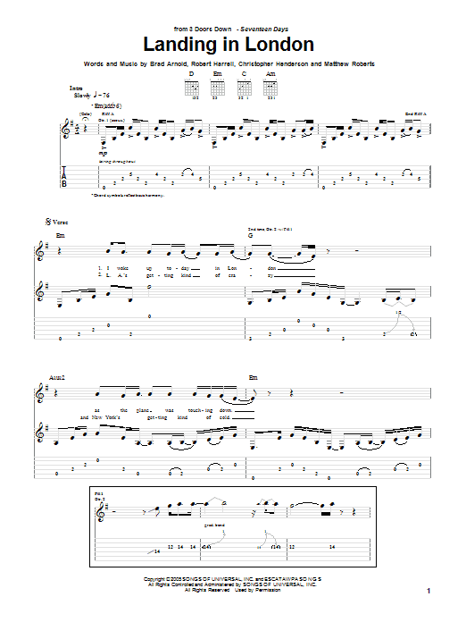 3 Doors Down Landing In London sheet music notes and chords. Download Printable PDF.