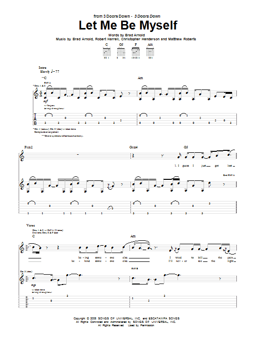 3 Doors Down Let Me Be Myself sheet music notes and chords. Download Printable PDF.