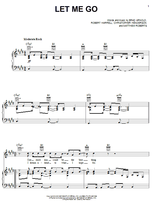 3 Doors Down Let Me Go sheet music notes and chords. Download Printable PDF.