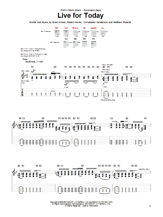 3 Doors Down Live For Today sheet music notes and chords. Download Printable PDF.