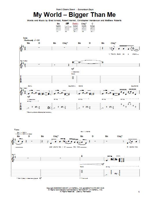 3 Doors Down My World - Bigger Than Me sheet music notes and chords. Download Printable PDF.