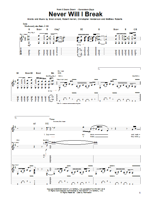 3 Doors Down Never Will I Break sheet music notes and chords