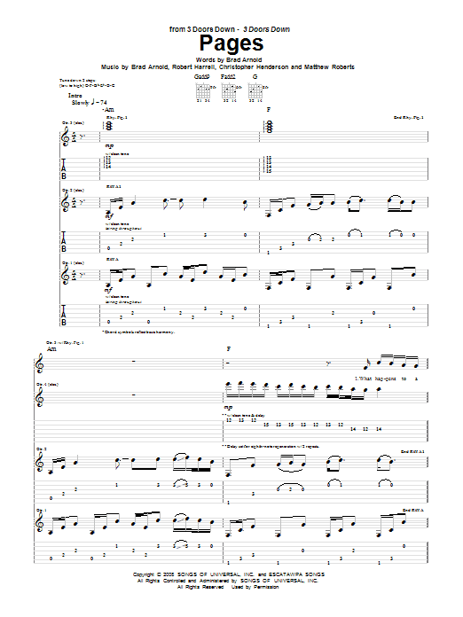 3 Doors Down Pages sheet music notes and chords