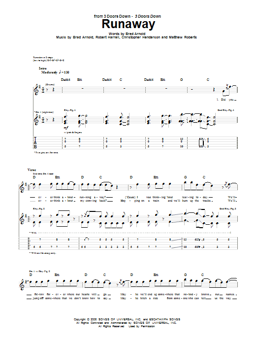 3 Doors Down Runaway sheet music notes and chords. Download Printable PDF.