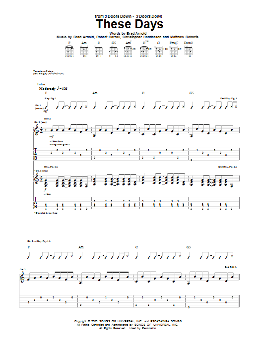 3 Doors Down These Days sheet music notes and chords
