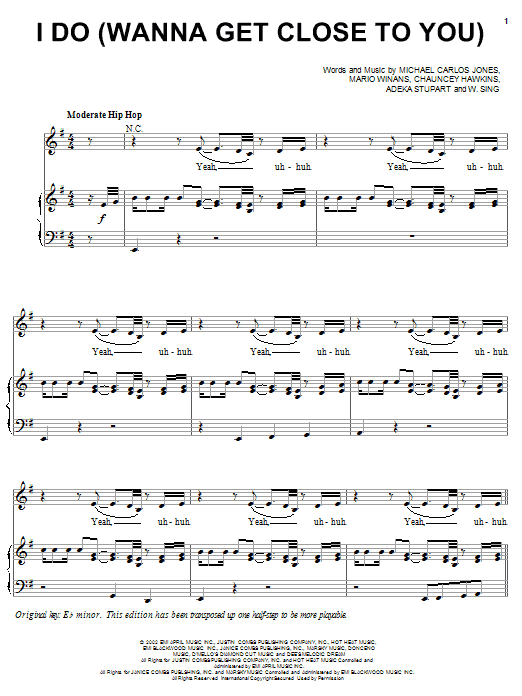 3LW I Do (Wanna Get Close To You) (feat. P. Diddy & Loon) sheet music notes and chords. Download Printable PDF.