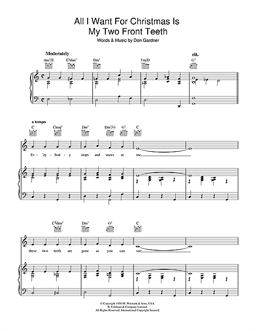 preview music notes - All I Want For Christmas Are My Two Front Teeth
