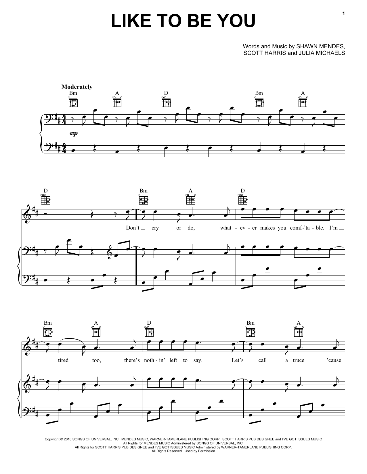 Shawn Mendes 'Like To Be You' Sheet Music Notes, Chords | Download  Printable Piano, Vocal & Guitar (Right-Hand Melody) - SKU: 403013