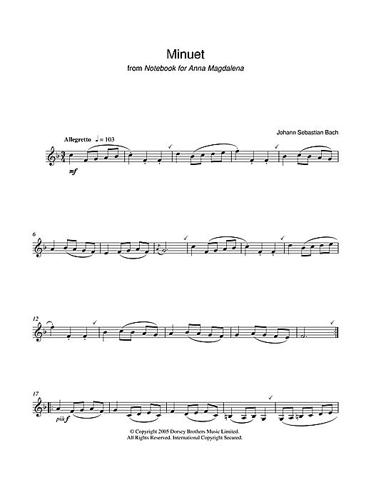 Johann Sebastian Bach 'Minuet in G Major (from The Anna Magdalena  Notebook)' Sheet Music Notes, Chords | Download Printable Clarinet - SKU:  40377